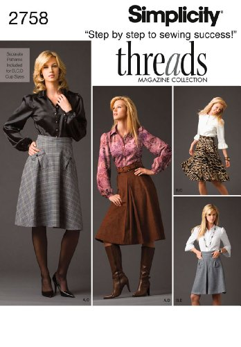 Simplicity Threads Magazine Pattern 2758 Misses Pleated Skirt, Half Circle Skirt and Shirt Sizes 12-14-16-18-20