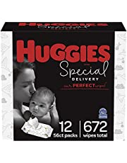 Huggies Special Delivery Hypoallergenic Baby Wipes, Unscented, 12 Push Button Packs (672 Wipes Total)