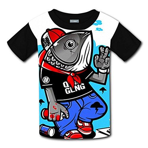 Fish Costume Diy (Hip hop Mr.fish 2017 DIY Unisex Costume Fashion T-Shirts for Kids)