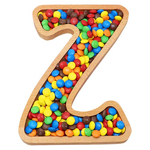 Wooden Letter Z Candy Dish | Monogram Nut Bowl | Snack, Cookie, Cracker Serving Plate | Decorative Display, Home Accessory | Unique Gift Idea | for Date, Baby Shower, Birthday - Dishes Baby Shower