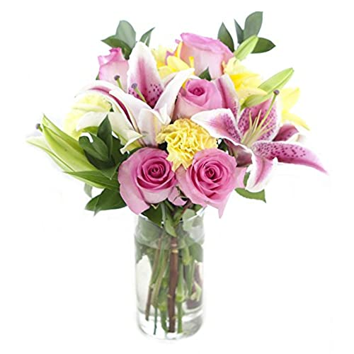 Birthday fresh flower arrangements amazon bouquet of pink roses white pink yellow lilies yellow carnations and lush greens with vase mightylinksfo