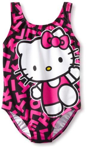 Hello Kitty Little Girls'  Print One Piece, Black/Pink, 4
