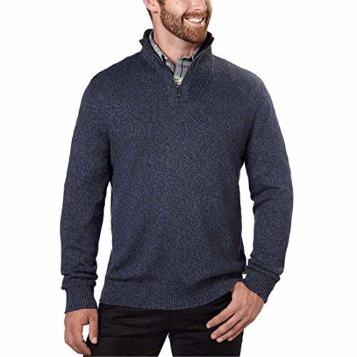 Calvin+Klein+Men%E2%80%99s+%C2%BC+Zip+Sweater+%28Cadet+Grindle%2C+Medium%29