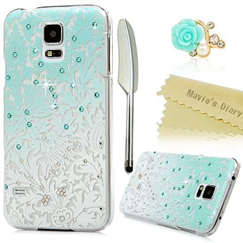 S5 Case,Samsung Galaxy S5 G900 Case – Mavis's Diary 3D Handmade Bling Crystal Shiny Rhinestone Diamonds Special Hollow Floral Gradient Pattern Hard PC…