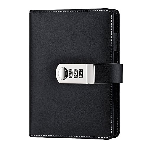 (Lirener Code Lock Refillable PU Leather Journals Password Diary Planner Organizer Sketchbook, Loose-Leaf Notebook Daily Notepad Personal Sketchbook with Coded Lock, Card Slots, Pen Holder,185x135mm)