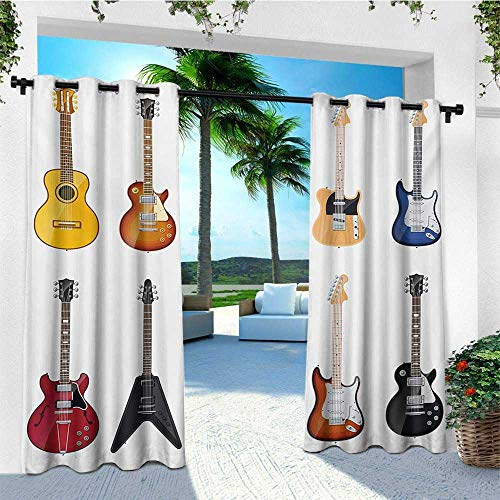 leinuoyi Guitar, Outdoor Patio Curtains, A Wide Variety of String Instruments Realistic Musical Pattern Jazz Blues Acoustic, Outdoor Curtain Set for Patio Waterproof W84 x L108 Inch Multicolor ()