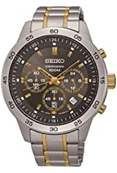 Seiko #SKS525 Men's Two Tone Stainless Steel Grey Dial Casual Chronograph Sports Watch