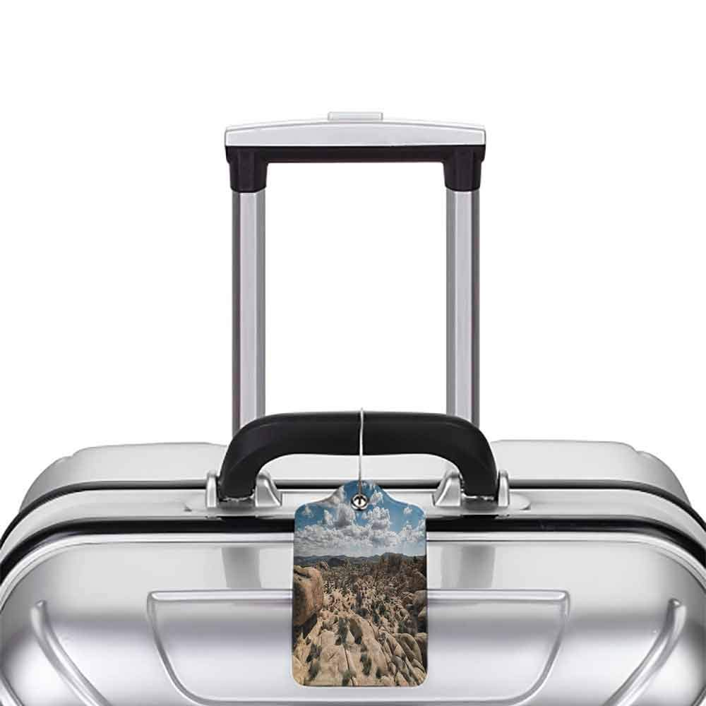 Modern luggage tag National Parks Home Decor Stone Cliffs under Sun Lights Panorama Art Adventure Climate Suitable for children and adults Grey Blue W2.7 x L4.6