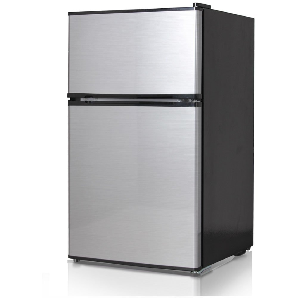 Midea Double Reversible Door Refrigerator and Freezer, 3.1 Cubic Feet, Stainless Steel
