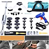 Yoohe Paintless Dent Repair Kits - Grip T Bar Slide Hammer Tools with Bridge Dent Puller + 16pcs Glue Puller Tabs + 10pcs Glue Sticks For Car Auto Body Hail Damage Remover