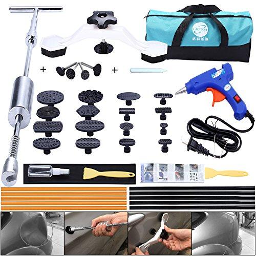 Yoohe Paintless Dent Repair Kits - Grip T Bar Slide Hammer Tools with Bridge Dent Puller + 16pcs Glue Puller Tabs + 10pcs Glue Sticks For Car Auto Body Hail Damage Remover