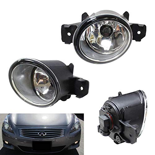 iJDMTOY Pair of Clear Lens Halogen Fog Lamps Compatible With Nissan & Infiniti, Driver Passenger Side Assembly w/ (2) 55W H11 Halogen Bulbs