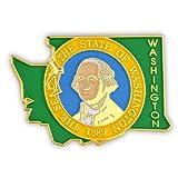 PinMart's State Shape of Washington and Washington Flag Lapel Pin