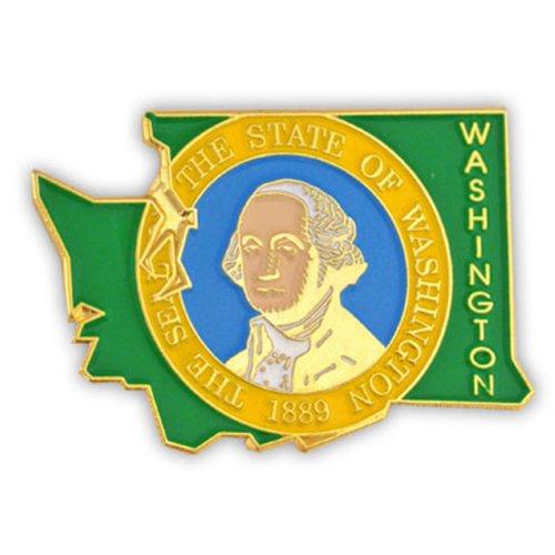 PinMart State Shape of Washington and Washington Flag Lapel Pin ()