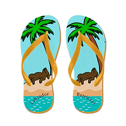 Labrador Flops Flip Sandals Thong Funny Island Beach Chocolate Orange Cafepress Sandals wI5Cq6