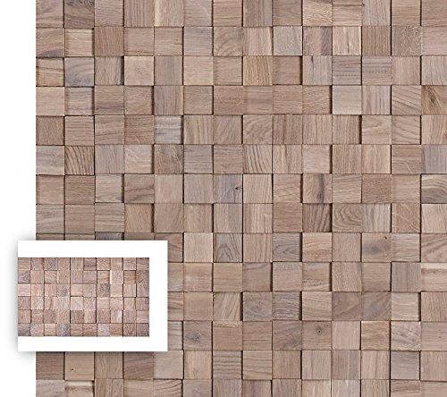 Timberwall - MOSAIC Collection Chessboard Oak White - DIY Solid Wood Wall Panel - Glued application - 5.5 Sq (Oak Mosaics)