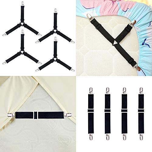 Ouddy Bed Sheet Holder Straps, Adjustable Bed Sheet Fastener and Triangle Elastic Mattress Sheet Clips Fitted Sheet Straps Fasteners Sheet Holders Suit for Bedding Mattress, Sofa - Elastic Sheets Fitted