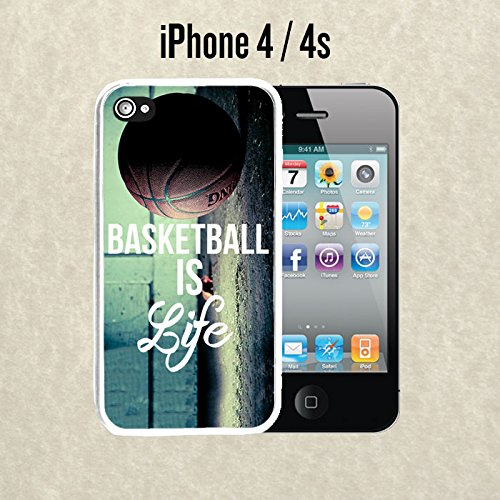 iPhone Case Basketball Baller Life Quote for iPhone 4 / 4s Rubber White (Ships from CA) With Free .33 mm Premium Tempered Glass Screen Protector (Case 4s Iphone Basketball Quotes)
