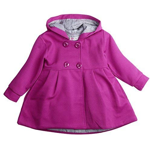 Baby Toddler Girls Fall Winter Trench Coat Wind Hooded Jacket Kids Outerwear (2-3 Years, Purple)