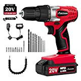 "20V Cordless Drill, Power Drill Set with 3/8"" Keyless Chuck, Variable Speed, 16"