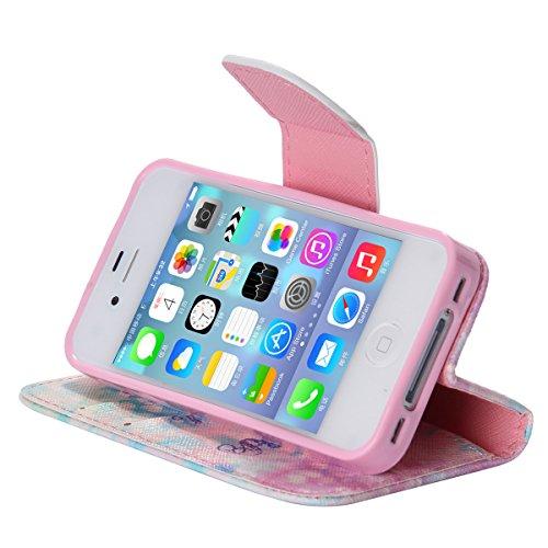iPhone 4 / 4S Coque , Apple iPhone 4/4S Coque Lifetrut® [ Passcode ] Luxe Premium Portefeuille Flip mignon Coque TPU souple Folio en cuir PU intégré dans la carte Slots Coque Etui pour Apple iPhone 4/