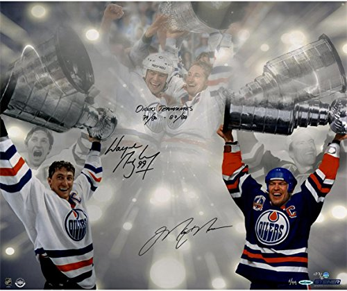 NHL Edmonton Oilers Wayne Gretzky & Mark Messier Dual Signed Stanley Cup 16x24 Photo