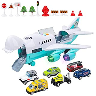 Zwish Car Toys Set, Airplane Toys, Educational City Cars for 3 4 5 6 7 Year Old Boys Kids Girls, Birthday Choice for Boys Toddlers, Large Friction Airplane with Songs, 6 Cars, 11 Road Signs