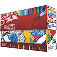 Sharpie 1983255 115 Count Permanent Markers Ultimate Collection w/Fine and Ultra Fine Points (Assorted Colors)