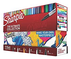 Sharpie 1983255 Permanent Markers Ultimate Collection, Fine and Ultra Fine Points, Assorted Colors, 115 Count