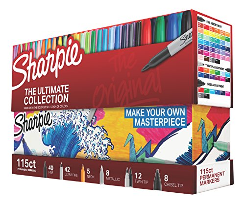 (Sharpie 1983255 Permanent Markers Ultimate Collection, Fine and Ultra Fine Points, Assorted Colors, 115 Count)