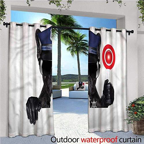 warmfamily Police Patio Curtains Pug Dog Police Costume Outdoor Curtain for Patio,Outdoor Patio Curtains W84 x L96 ()