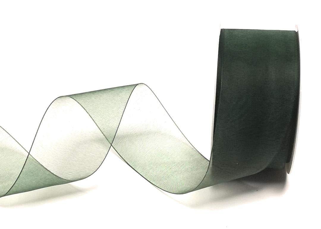 Mabella Schleifenband 25m x 40mm Gr/ün Dunkelgr/ün Organza Chiffon mit Webkante Dekoband
