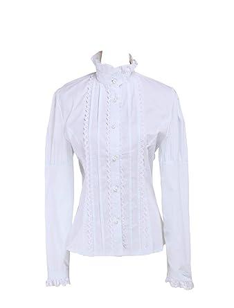 578bfa76065d7 Antaina White Cotton Lace Ruffle Stand-up Collar Victorian Lolita Shirt  Blouse