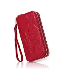 APHISON Women RFID Blocking Purse Zipper Leather Wallet Card Holder/Gift Box 8348 (RED)