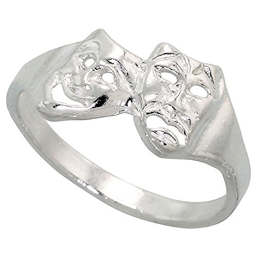 Sterling Silver Drama Masks Ring Polished finish 3/8 inch wide, size 7