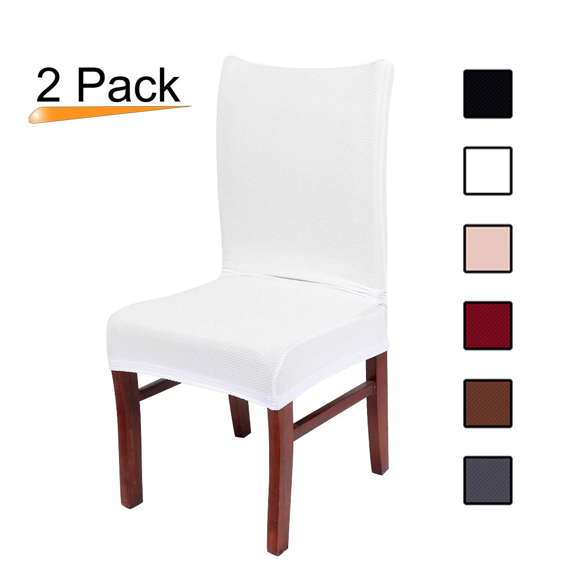 Colorxy Stretch Dining Room Chair Slipcovers - Spandex Fabric Removable Chair Protector Jacquard knitted Home Decor Set of 2, White