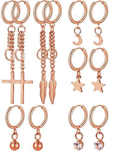 (meekoo 6 Pairs Huggie Hoop Earrings Stainless Steel Dangle Hinged Hoop Cuff Earrings Men Women Huggie Jewelry Set, 6 Types (Rose)