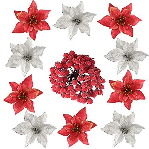 TUPARKA 116 PCS Christmas Decorations Glitter Artificial Poinsettia Christmas Flowers with Holly Berry Picks Stems for Christmas Tree Ornaments Xmas Garland Wreath DIY Decorations Supplies (Best Diy Christmas Wreaths)