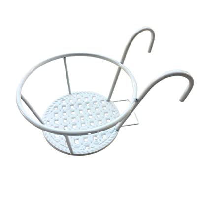 Yarnow Hanging Railing Planter Flower Pot Holder Plant Holder Iron Racks Fence Plant Baskets Shelf Container Box for Indoor and Outdoor (White): Garden & Outdoor