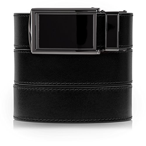 Black Full Grain Leather - SlideBelts Men's Onyx Premium Full Grain Leather with Black Buckle