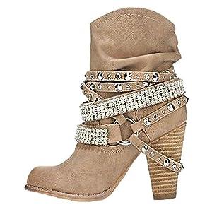 Minetom Donna Inverno Stivali Scarponi da Neve Moda Sexy Casual Elegante Rivetto Scarpe con Tacco Alti Tacchi Alti Boots Stivaletti