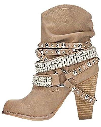 Tac Altas Mujer Botas Atractivo Boots Moda Retro De Invierno Minetom Zapatos fAq6vn
