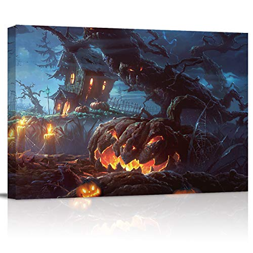 Halloween Scary Pumpkin and Castle Wall Art Painting