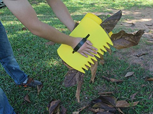 Schome yellow large garden and yard leaf scoops plastic for Big hands for gardening
