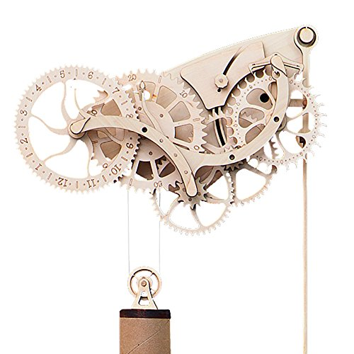 Abong Handcrafted Mechanical Wooden Pendulum Clock Kit - Easy Assembly - with Clear, Illustrated Color Instruction - Wood Clock Kits