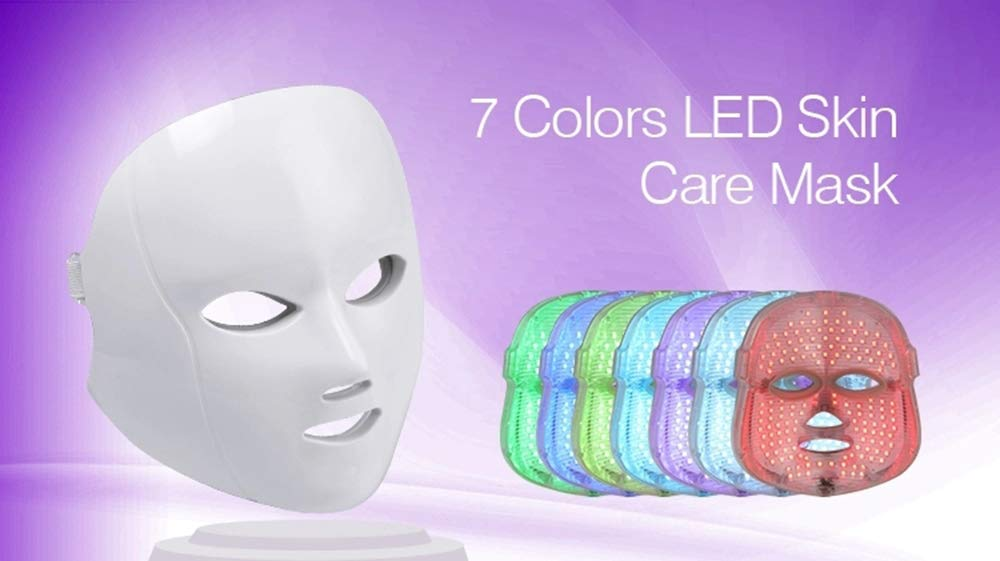 MEISHENG 7 Color LED Face Mask Collagen Anti Aging Beauty Mask with IR Photon Light Therapy Facial Beauty Skin Care Mask for Wrinkles Acne /& Healthy Skin Rejuvenation