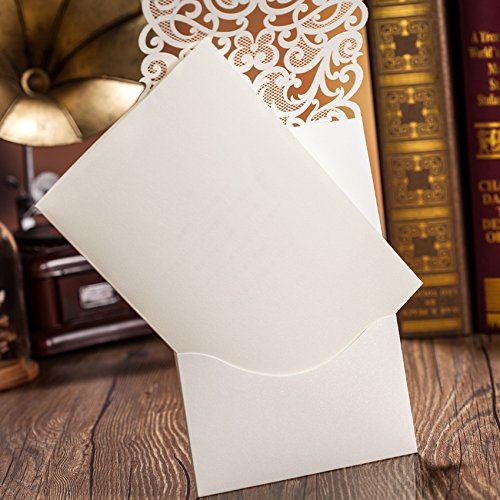 Hollow White Wedding Invitations Elegant Laser Cut Birthday Party Banquet Celebration Cardstock with Rhinestone CW5001 (100) by Wishmade (Image #5)