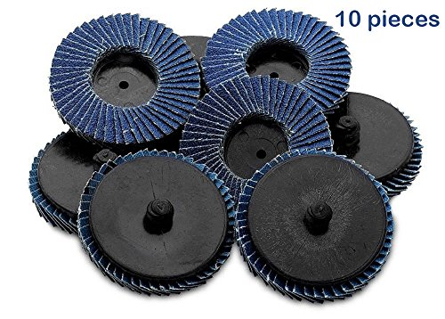 Flap Discs 120 Grit Quick Change Grinding Wheels 10 Pieces 2'' - For Rotary Tools, Die Grinder, Drill, Blending And Finishing Applications- By Katzco
