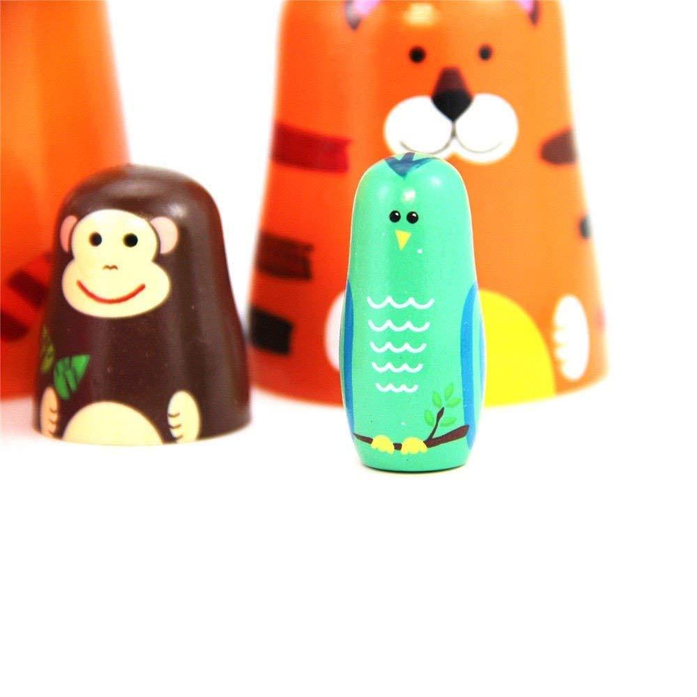 Maxshop 5 Pieces 6'' Tall Cute Nesting Dolls Matryoshka Doll Russian Matryoshka Doll Handmade Wooden Dolls Cartoon Animals Pattern Toy Gift by Maxshop (Image #8)