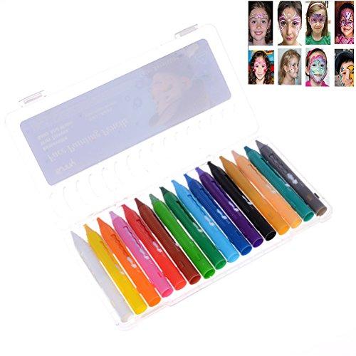 Eshylala 16 Color Face Paint Crayons,Face Painting Sticks, Safe (Neon Face Paint Patterns)